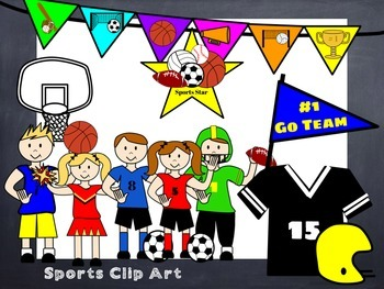 Clip Art: Sports Theme Kids and Gear