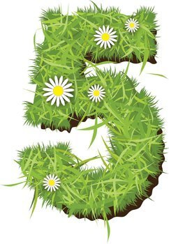 Alphabet Letters with Grass Effect - Clip Art