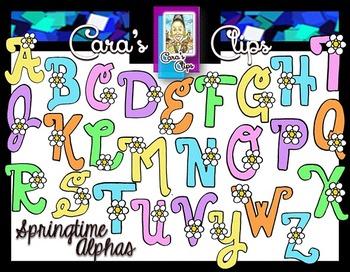 Clip Art~ Springtime Flowers Alphabet with Bonus Clip Art!