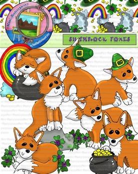 Clip Art: St. Patrick's Day Shamrock Foxes