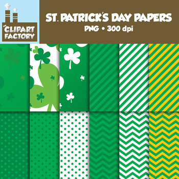 Clip Art: St. Patrick's Day Backgrounds - 12 Digital Papers