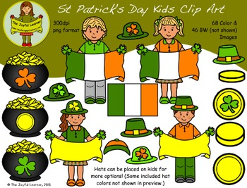 Clip Art: St. Patrick's Day Kids - Huge Set!