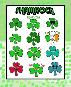 Clip Art: St. Patrick's Day Shamrock Anime Emoticons!