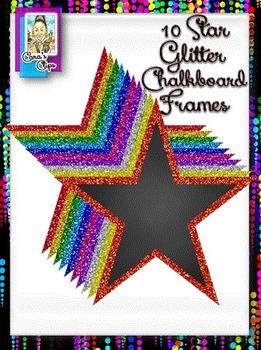 Clip Art ~ Star Glitter Chalkboard Frames - 500 Fantastic Followers Celebration