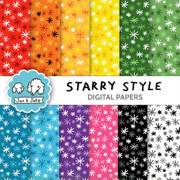 Clip Art: Starry Style Digital Papers for Personal and Com