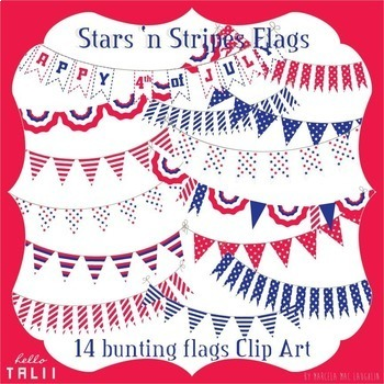 Clip Art: Stars and Stripes Bunting Flags