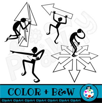 Clip Art Stick Man & Arrows