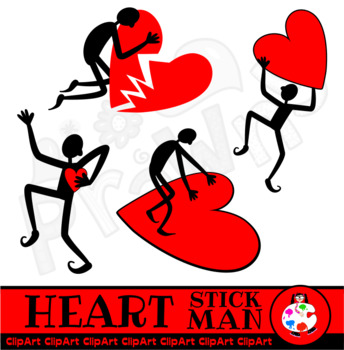 Clip Art Stick Man & Love Hearts