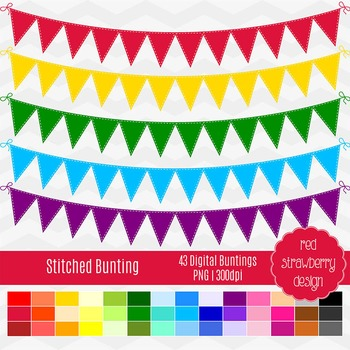 Clip Art - Stitched Bunting - Back to Basics