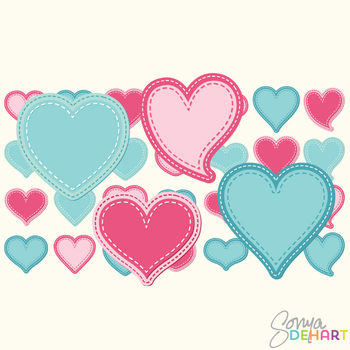 Clipart - Stitched Hearts Set of 28