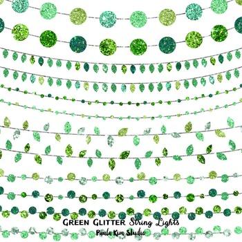 Clip Art - String Lights Green Glitter