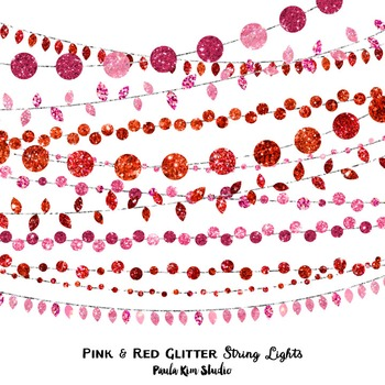 Clip Art - String Lights Pink and Red Glitter