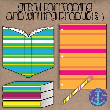Clip Art: Striped Classroom Items- open and closed books, pencils, notebooks