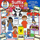 Clip Art - Suffix Pack 12 (able, ible, ous as eous & ious)