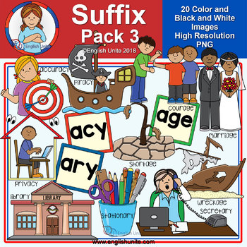 Clip Art - Suffix Pack 3 (acy, age & ary)