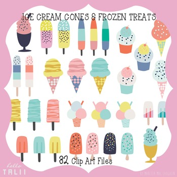 Clip Art: Summer Ice Cream Cones & Frozen Treats