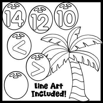 Clip Art~ Summer Palm Tree Math
