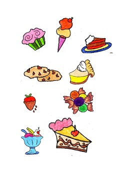 Clip Art, Sweets, Cakes, Pies,Cotton Candy,Etc, Printable Dowload