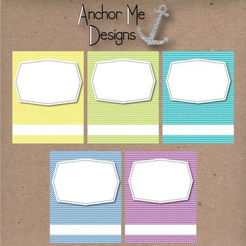 Clip Art TPT Covers or Coversheets for TPT Sellers- Bright Chevron with Frames