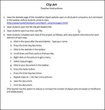 Clip Art Technology Lesson Plan & Materials