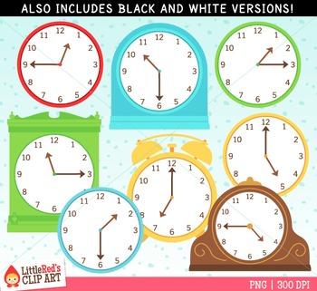Telling Time Clocks Clip Art