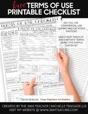 Clip Art Terms of Use Printable Checklist