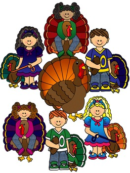 Clip Art~ Thanksgiving Turkey Kids