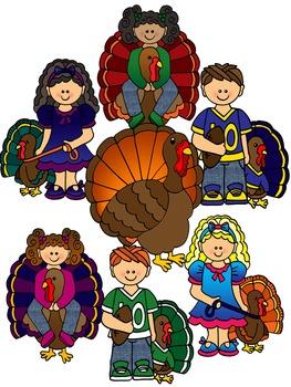 Clip Art~ Thanksgiving Turkey Kids