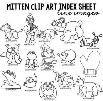 The Mitten LINE Clip Art