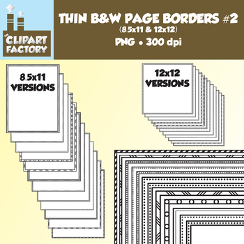 Clip Art: Thin Borders and Frames #2 - 24 Fun page borders 8.5x11 & 12x12