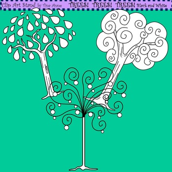 Clip Art Trees! Trees! Trees! in Black and White