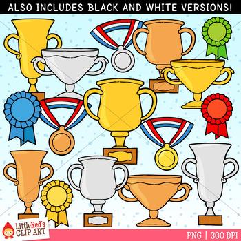 Award Clip Art - Trophies, Ribbon and Medals