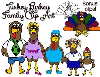 Clip Art~ Turkey Lurkey Family (Choose Your Own Feathers!)