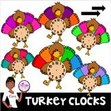 Clip Art~ Turkey and Thanksgiving Clocks