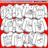 Clip Art Ugly Christmas Sweaters in black and white