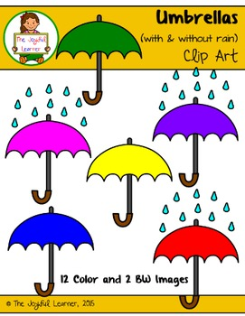 Clip Art: Umbrellas (with & without rain) FREEBIE