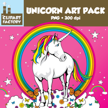 Clip Art: Unicorn Art Pack - 15 Color, 7 Black & White