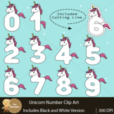 Clip Art | Unicorn Number with Cutting Lines  0- 9
