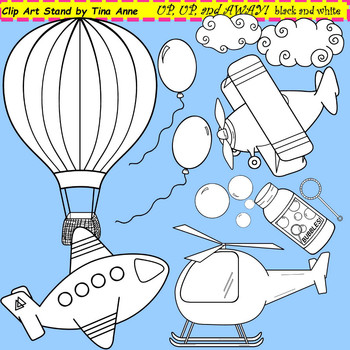 Clip Art Up Up and Away black and white