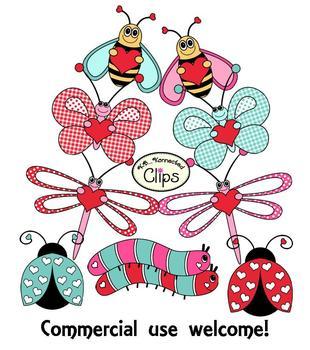 Clip Art - Valentine Love Bugs