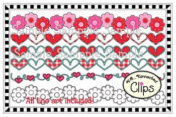 Clip Art - Valentine Page Dividers (line art included)
