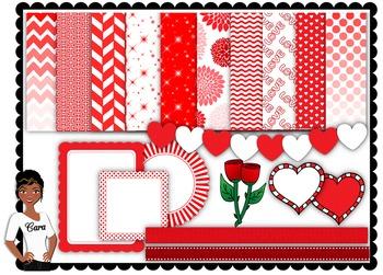 Clip Art~ Valentine Reds Teacher Design Set