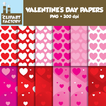 Clip Art: Valentine's Day Backgrounds - 12 Digital Papers