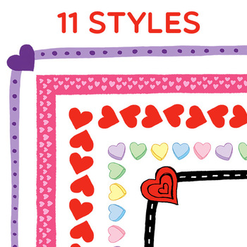 Clip Art: Valentine's Day Border Set - Borders for Personal and Commercial Use