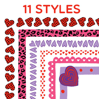 Clip Art: Valentine's Day Heart Border Set - Includes Conversation Candy Hearts