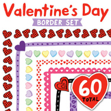 Clip Art: Valentines Border Set - Includes Candy Heart borders