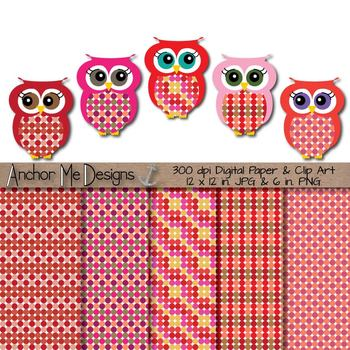 Clip Art- Valentine's Day Polka Dot Owls & Matching Polka Dot Digital Paper Set