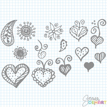 Clipart - Various Hand Doodled Elements Hearts Paisley