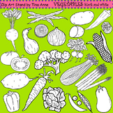 Clip Art Vegetables in black and white