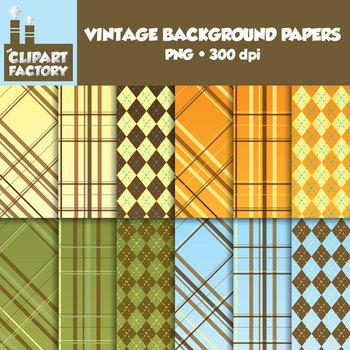 Clip Art: Vintage Backgrounds - 12 Digital Papers-Scrapbooking